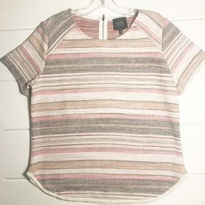 W5 - Anthro Pink striped fringe edge top NWT